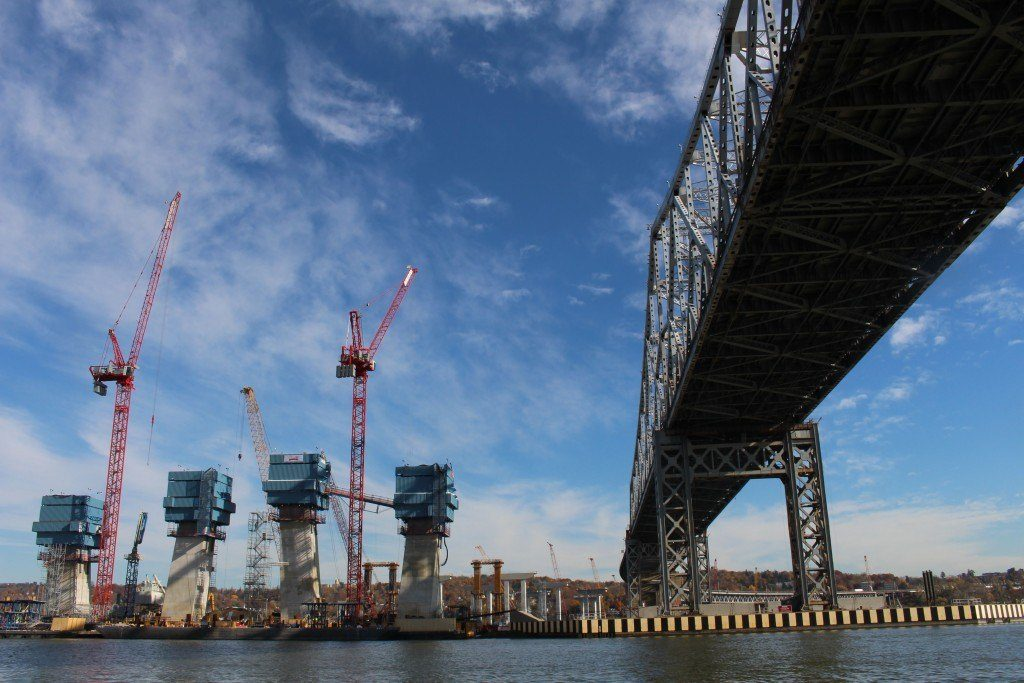 Construction of the Tappan Zee Bridge in Fall 2015.