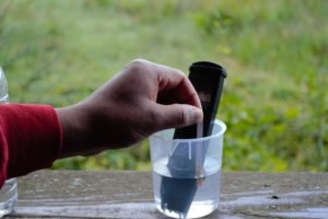 An individuals hand testing something in a cup of water.