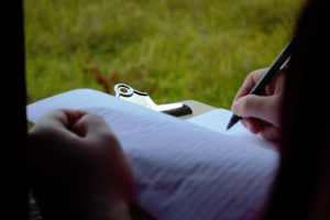 An individual writing in a journal.