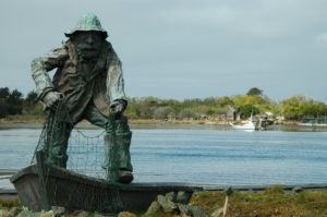 "The fisherman's memorial statue on Woodley Island in Humboldt Bay honors those ""whom the sea sustained...and those it claimed."""