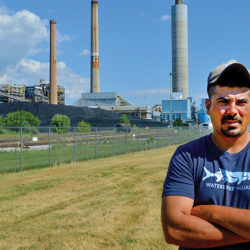 Ted Evgeniadis, the Lower Susquehanna Riverkeeper, in front of Brunner Island Power Plant.