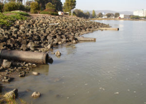 sewage pipes draining into waterway