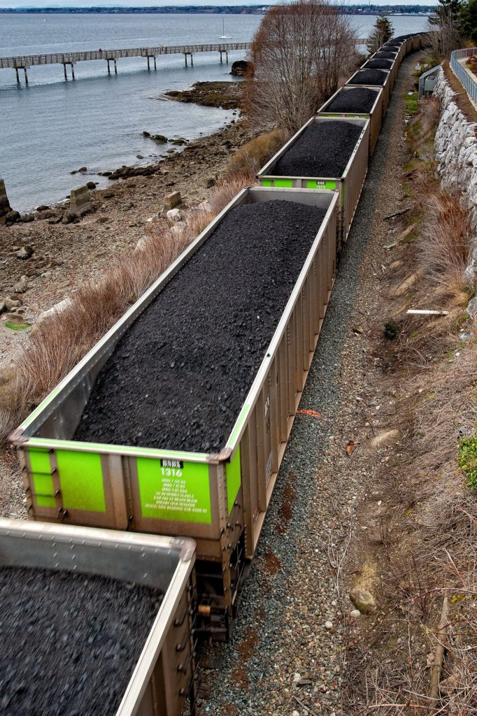 A train exporting large amounts of coal.