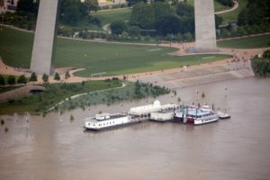 Mississippi River at the Saint Louis Gateway Arch | Photo taken on June 2, 2019 by Tom Peterson