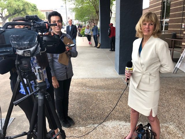 Attorney Amy Johnson speaks to press outside the courthouse