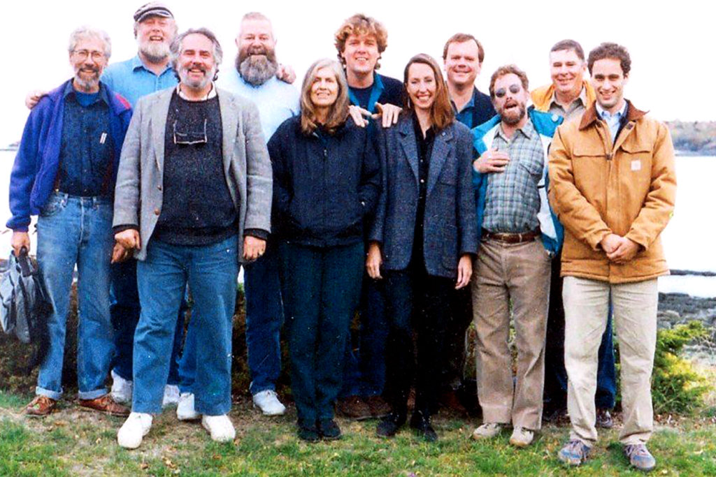 A photo of 11 individuals gathered together at a Waterkeeper conference in Maine.