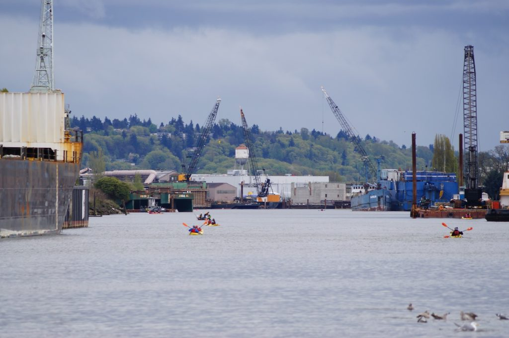 Puget Soundkeeper kayaktivists paddle on the Duwamish River. Photo courtesy of Puget Soundkeeper.