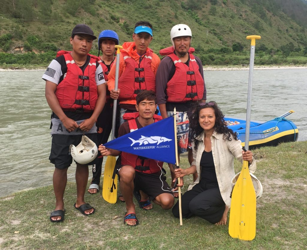 Waterkeeper Alliance Recruiting Director Sharon Khan with the new Punatsang Chu Waterkeeper team on one of their river cleanup patrols in Punakha, Bhutan.