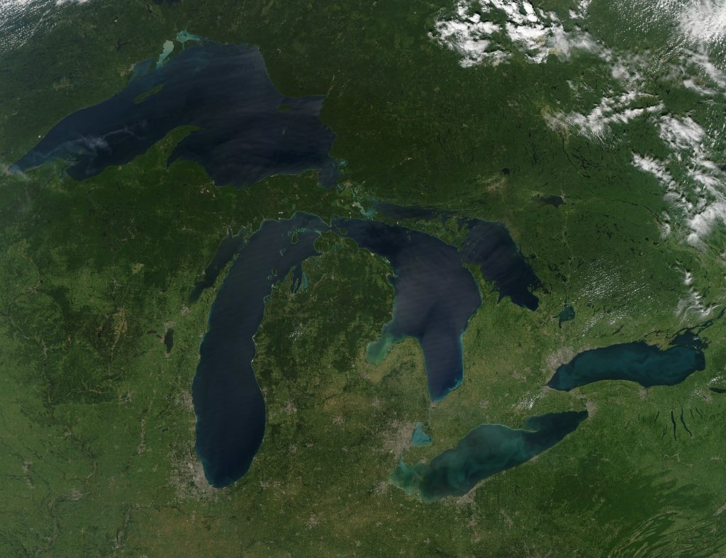 Aerial view of the Great Lakes