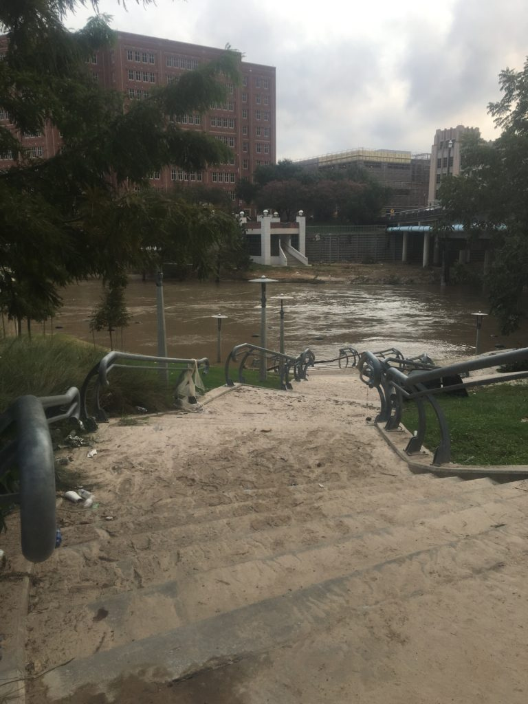 The aftermath of flooding in Houston's Buffalo Bayou after Hurricane Harvey.