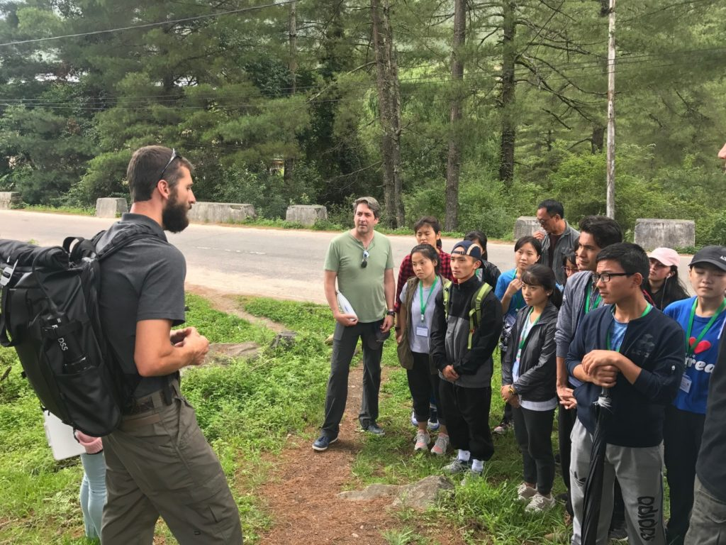Waterkeeper Alliance Field Investigator Christian Breen, left, and Executive Director Marc Yaggi providing field training for the inaugural class of Bhutan's first law school.