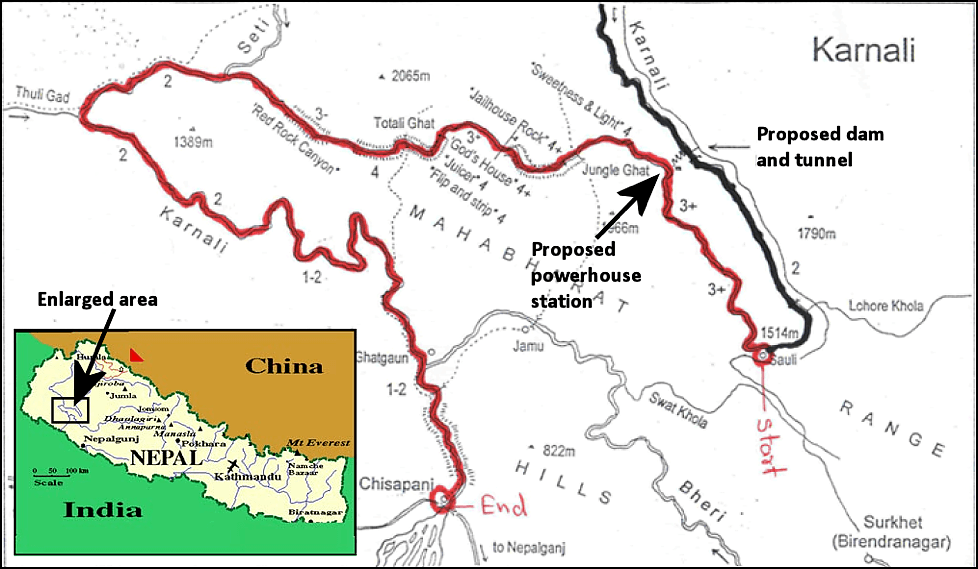 Karnali River expedition map