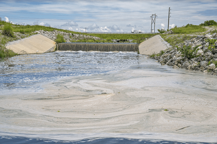 Canal C-44 filled with agricultural discharges that ultimately drain into the Indian River Lagoon.