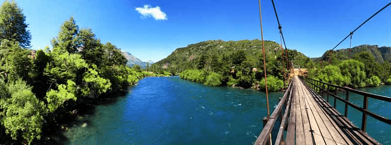 Trail bridge above the Futaleufú River in the Futaleufú National Reserve.
