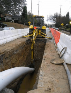 This pipe-laying was part of a project to replace old and undersized pipes and stop sewage overflows.