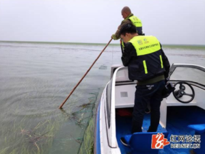 Dongting Lake Waterkeeper discovering illegal fishing nets during the spring fishing ban
