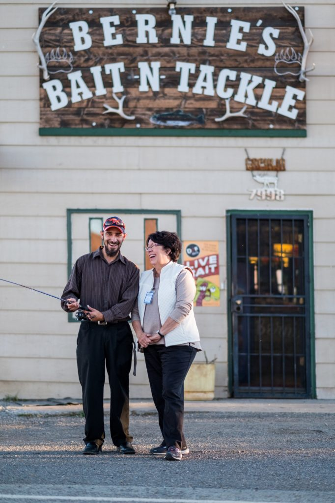 The owner, Jose Trujillo (left), and Alamosa Riverkeeper Cindy Medina (right) at Bernie's Bait n Tackle in Capulin, Colorado.