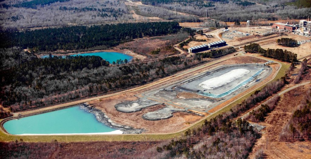 Toxic coal ash holding ponds at Duke Energy's Cape Fear plant on North Carolina's Cape Fear River.