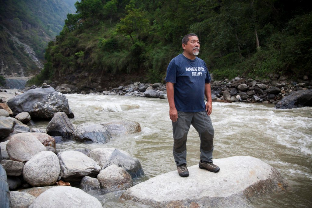 Megh Ale standing on the banks of the Karnali.