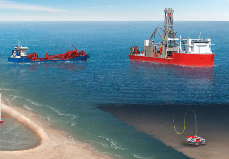 A dredge vessel crawler in the ocean performing seabed mining.