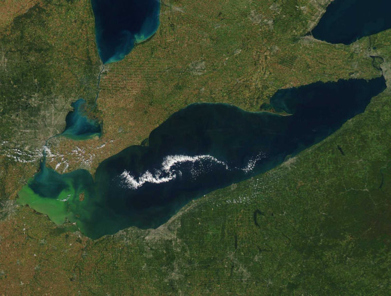 Aerial view of Lake Erie.