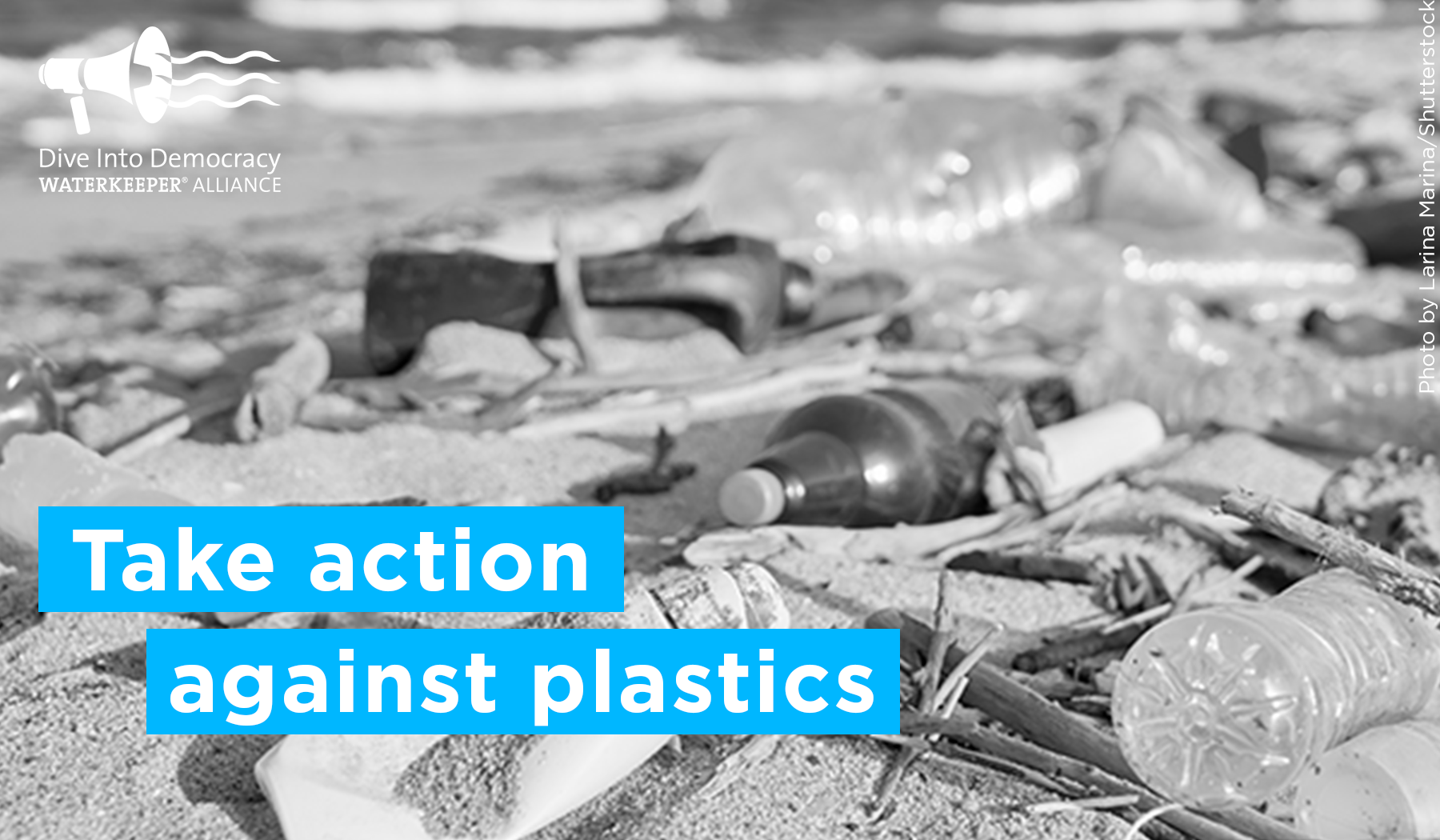 Plastic waste on a beach wtih the text: Take action against plastics