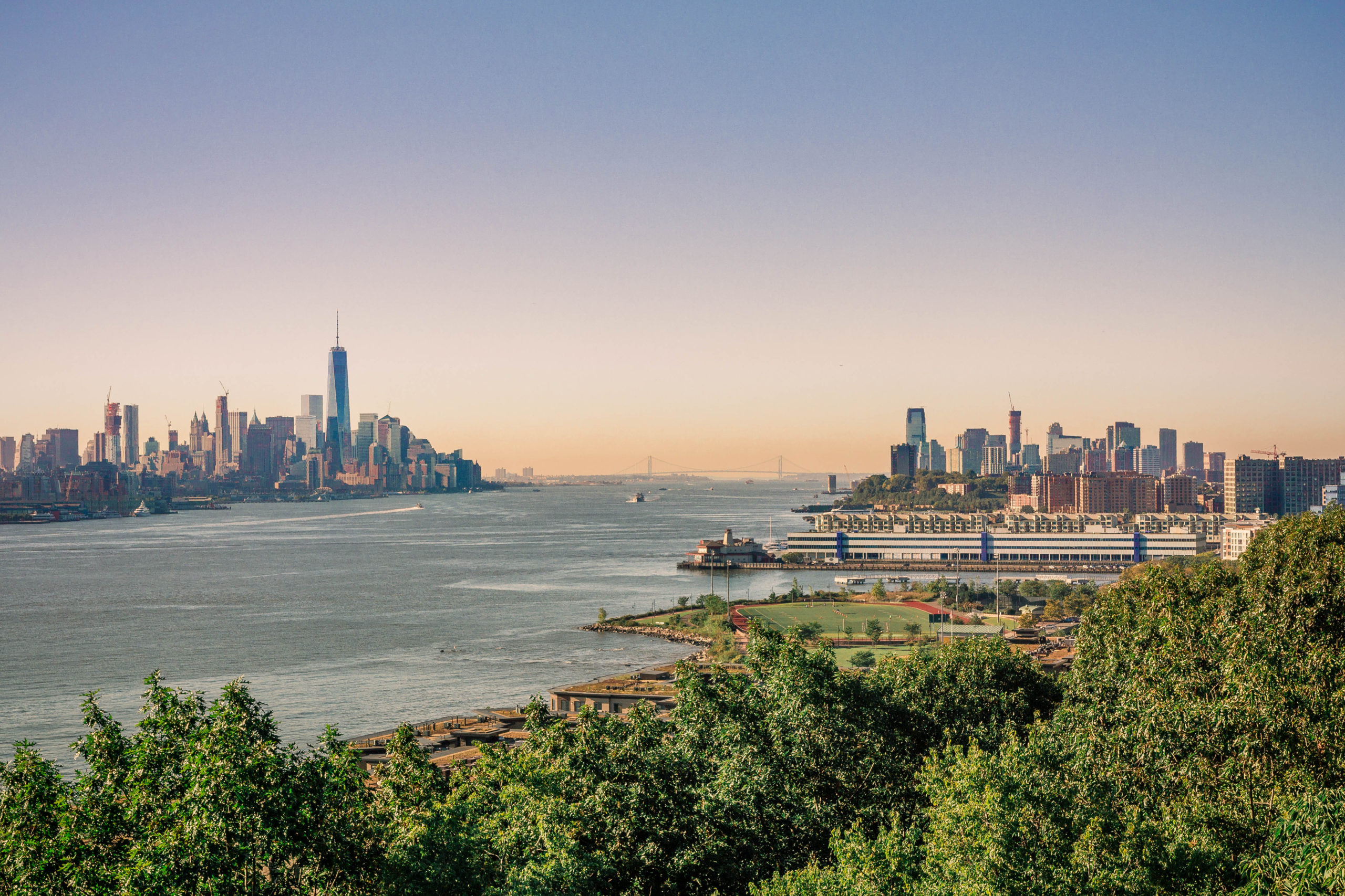 The skylines of New York and New Jersey with the Hudson River in between.