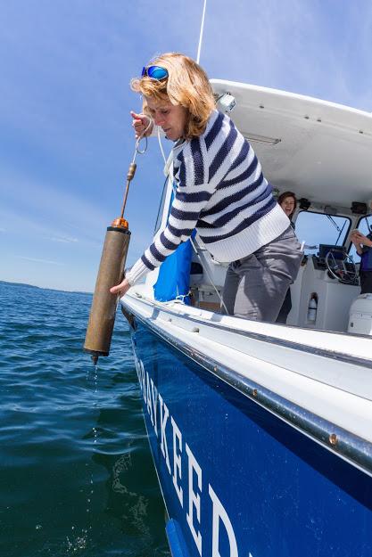 Casco Baykeeper Ivy Frignoca toma una muestra de agua de un bote.